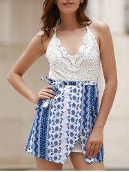 Trendy Lace Top Backless Tribal Print Women's Dress - BLUE AND WHITE