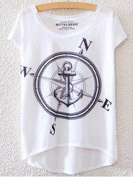 Simple Style Women's Anchor Pattern Short Sleeve T-Shirt