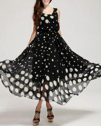Sleeveless Polka Dot Print Elastic Waist Long Flowing Sundress - BLACK