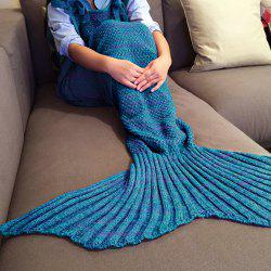 Exquisite confortable style Drawstring tricotée Mermaid design Throw Blanket - Bleu et Rouge
