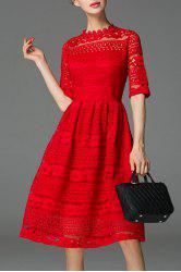 See-Through Lace Knee Length Dress -