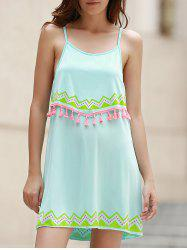 Stylish Cami Ethnic Print Fringe Women's Dress