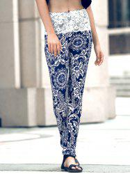 Stylish Skinny Ethnic Print Lace Spliced Women's Pants
