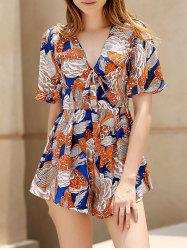 Stylish Plunging Neck Short Sleeve Floral Women's Playsuit