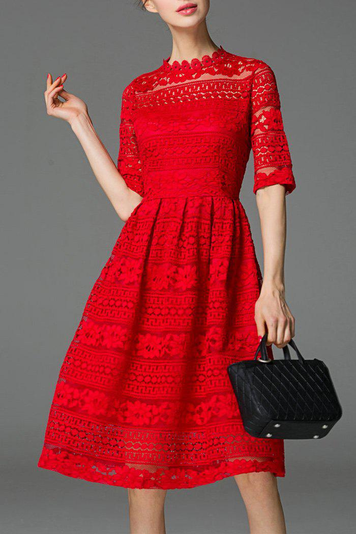 Buy See-Through Lace Knee Length Dress