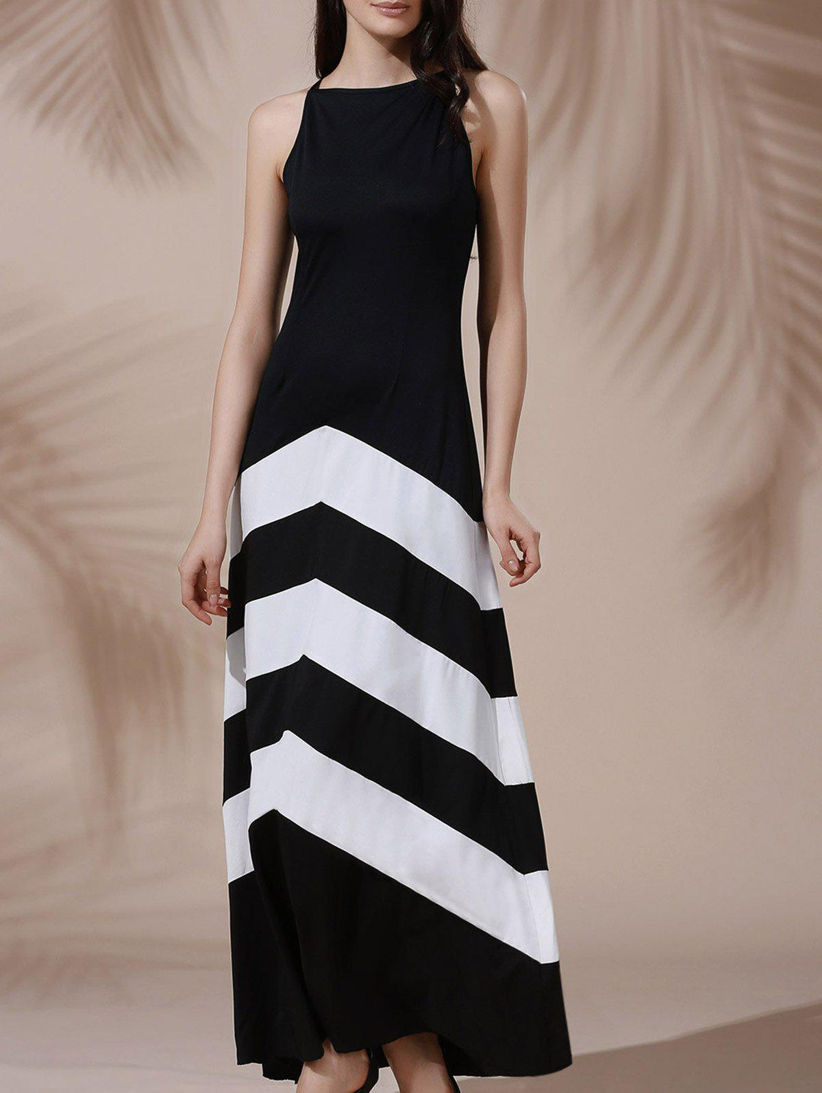 Chic Halter Sleeveless Color Block Maxi Prom Evening Dress