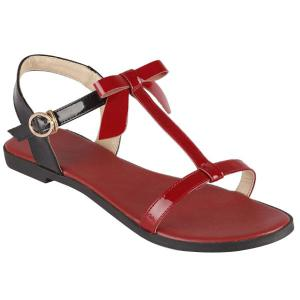Ladylike T-Strap and Color Block Design Sandals For Women