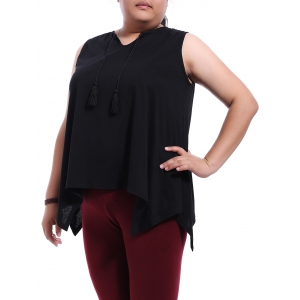 Stylish Plus Size Jewel Neck Black Asymmetrical Top For Women - BLACK XL