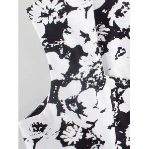 Vintage Floral Knee Length Fit and Flare Dress - BLACK S