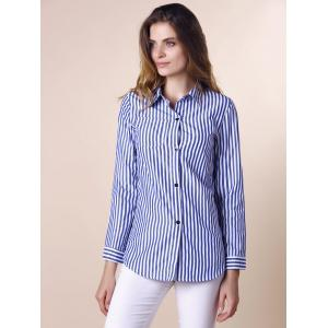 Stripes Long Sleeve Formal Shirt - BLUE/WHITE M