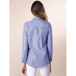 Stripes Long Sleeve Formal Shirt - BLUE AND WHITE L
