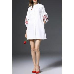 Lantern Sleeve Embroidered Shirt Dress