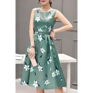 Sweet Style Round Neck Sleeveless Floral Print Zippered Women's Dress -