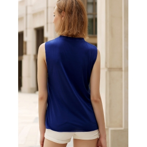 Round Collar Letter Tank Top -