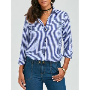 Stripes Long Sleeve Formal Shirt - Blue And White - S