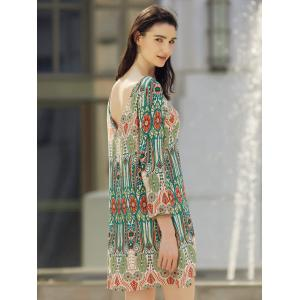Boat Neck Back V-Shape Indian Print Dress -