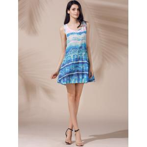 Casual Scoop Neck Printed Sleeveless Sun Dress For Women -
