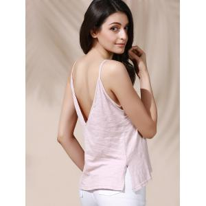 Casual Solid Color Backless Slit Cami Top For Women -