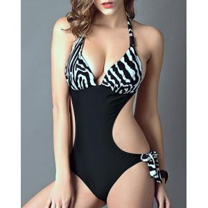 Stylish Halter Zebra Print Cut Out One-Piece Swimsuit For Women -