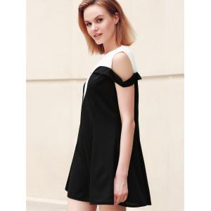 Casual Plus Size Jewel Neck Hit Color Dropped Shoulder Dress For Women -