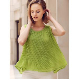 Chic Scoop Neck Pleated Solid Color Loose-Fitting Women's Tank Top -