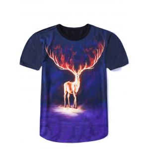 Vogue Round Neck 3D Cool Elk Print Fitted Short Sleeves Ombre T-Shirt For Men