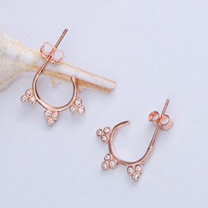 Pair of Rhinestoned Clover Alloy Stud Earrings