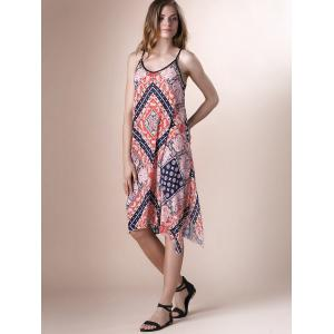 Paisley Print Lace Up Boho Slip Dress - COLORMIX S