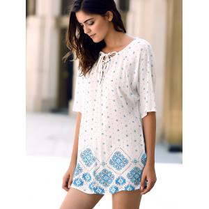 Casual Jewel Neck Batwing Sleeve Flower Print High Low T-Shirt For Women -