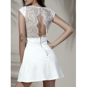 Simple Style Women's V Neck Lace Spliced Hollow Out Cap Sleeve Dress - White - Xl