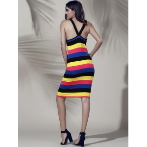 Simple Style Women's Colorful Scoop Neck Tank Dress -