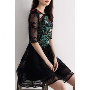 Gauze Splicing Embroidered Dress -