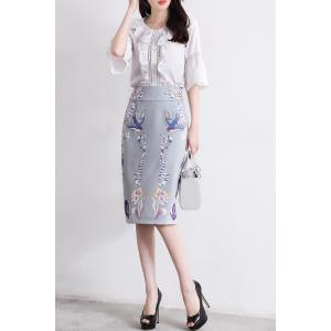 Bell Sleeve Blouse and Sheath Skirt Twinset -
