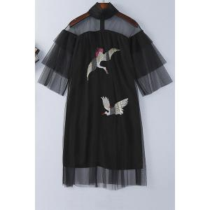 Birds Embroidered See-Through Dress -