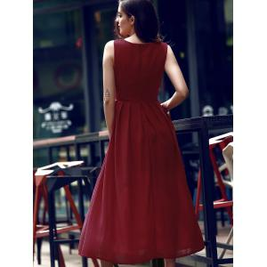 Simple Style Women's V Neck Sleeveless Wine Red Furcal Dress - WINE RED S