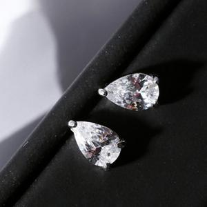 Pair of Chic Rhinestoned Water Drop Stud Earrings For Women -
