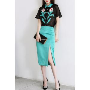 Patched Shirt and Slit Skirt Twinset -
