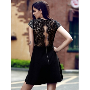 Simple Style Women's V Neck Lace Spliced Hollow Out Cap Sleeve Dress - BLACK S
