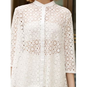 Trendy Stand Collar 3/4 Sleeve Lace Hollow Out White Cover-Up Blouse For Women -