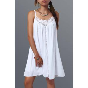 Spaghetti Strap Short Lace Splicing Shift Dress - White - M