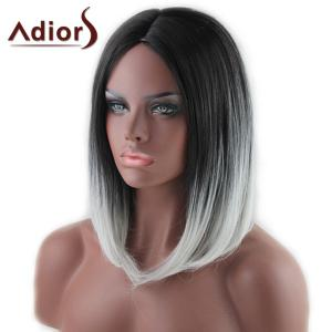 Stylish Medium Black Ombre White Capelss Straight Centre Parting Synthetic Adiors Wig For Women - OMBRE