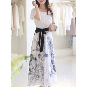 Sweet Short Sleeve Belt-Tie Floral Print Women's Chiffon Dress -