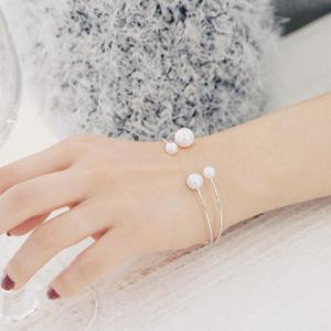 Faux Pearl Double Layers Opening Bracelet -
