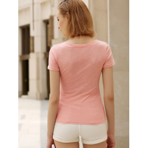 Casual V-Neck Short Sleeve Star T-Shirt For Women -