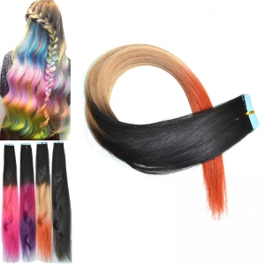 Stylish Traceless Long Straight Three Color Gradient Human Hair Extension