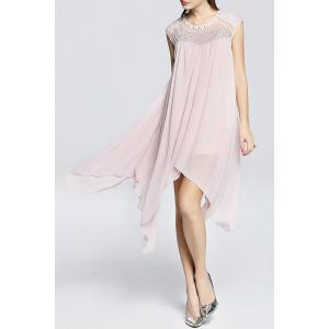 Faux Pearl Beaded Handkerchief Dress -
