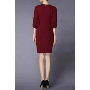 Lantern Sleeve Sheath Work Dress -