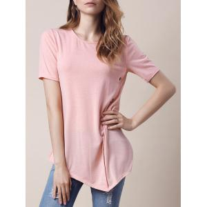 Trendy Round Collar Short Sleeve Button Design Asymmetrical Women's T-Shirt - Light Pink - S