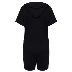 Sporty Hooded Solid Color Drawstring Romper For Women