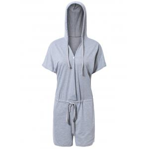 Sporty Hooded Solid Color Drawstring Romper For Women - GRAY XL